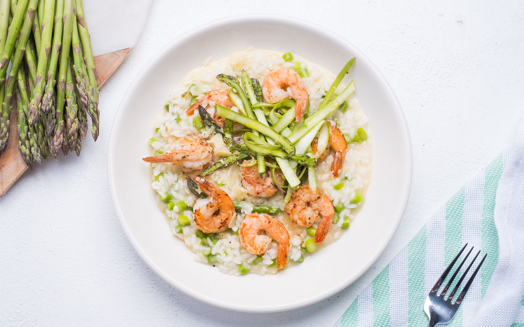 Shrimp and asparagus risotto
