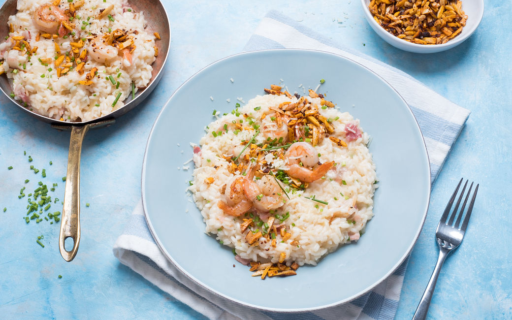 Bacon and shrimp risotto