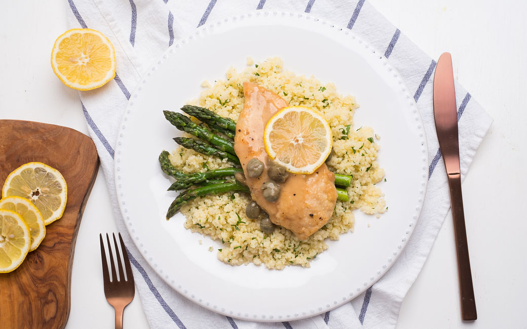 Lemony chicken and asparagus