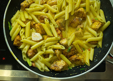 Add pasta back to pan and serve