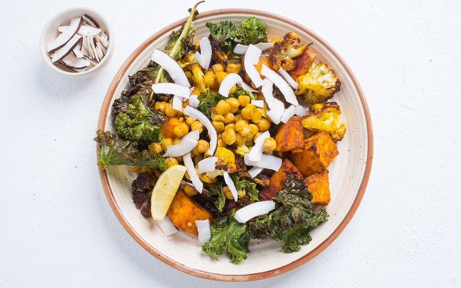 Curried Roasted Chickpeas with Crispy Kale