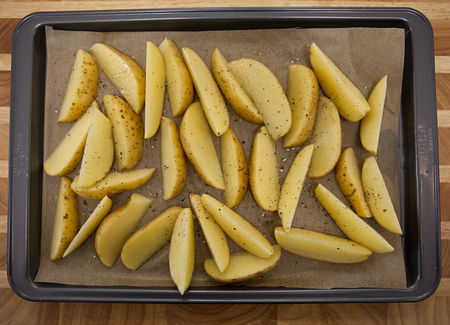 Prepare and bake potatoes