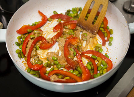 Add the vegetables and sauce ingredients