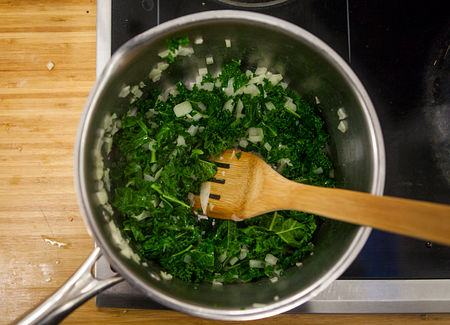 Cook the kale, onion, and garlic