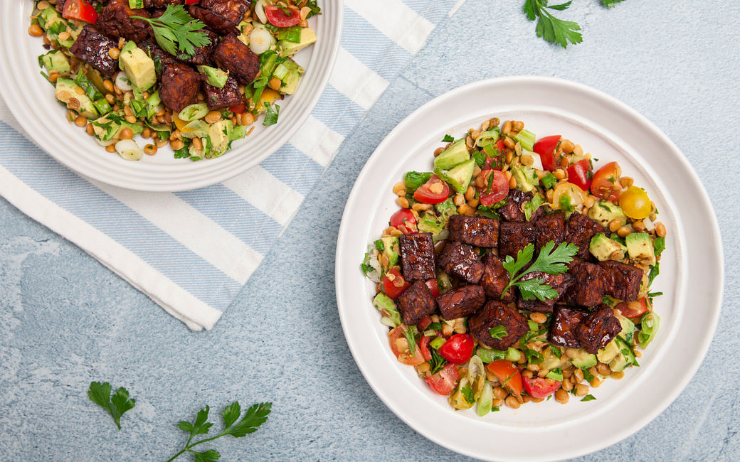 Tempeh BBQ served with Lentils tabbouleh