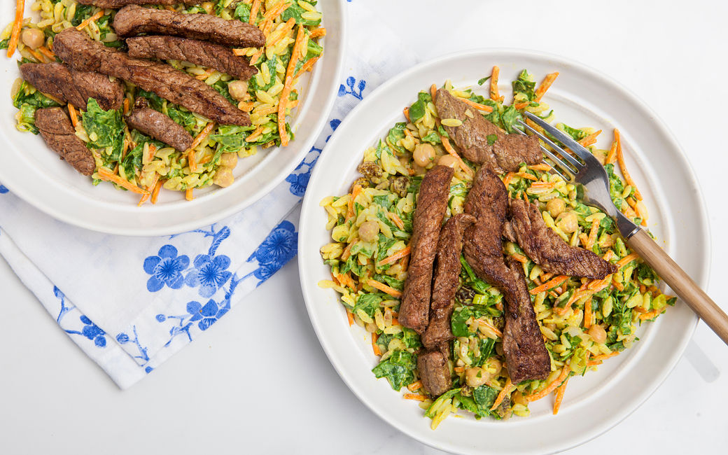 Indian Steak Strips Orzo Salad