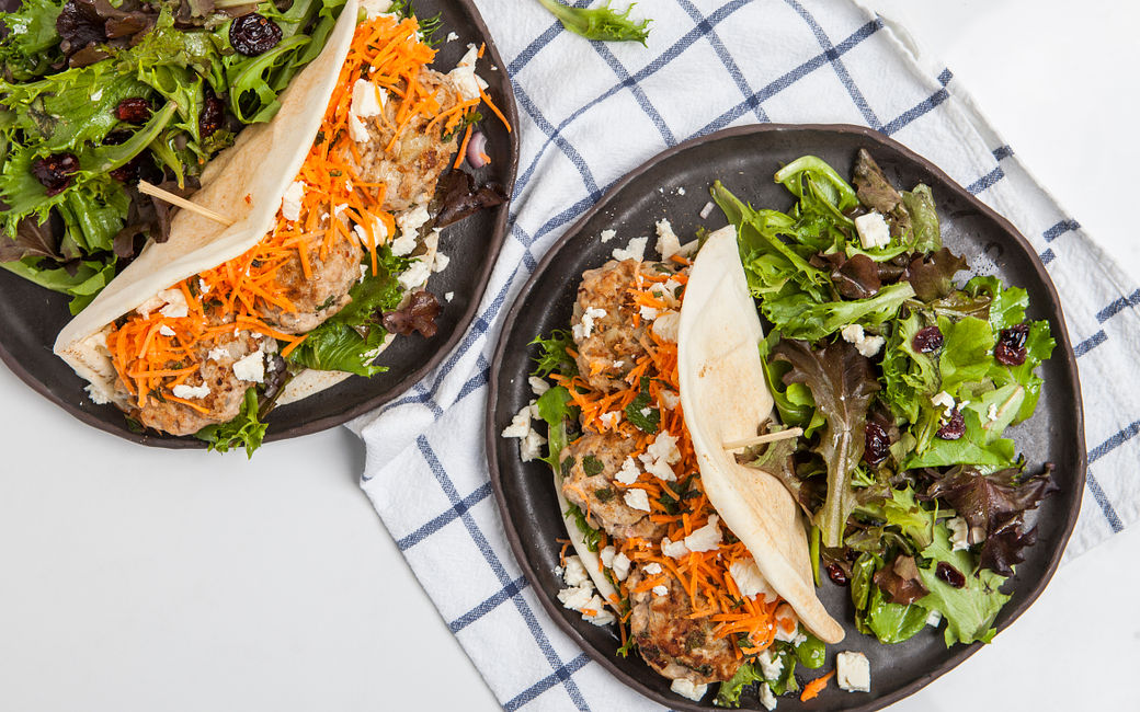 Moroccan Chicken Pitas with Feta and Carrot Slaw