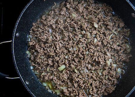 Cook onion and beef