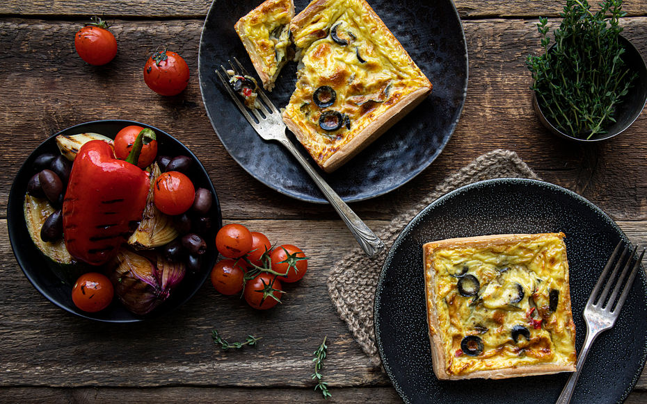 """Olive & Mediterranean Vegetable Quiches (2 x 4"""""""""""""""")"""""""""""""""