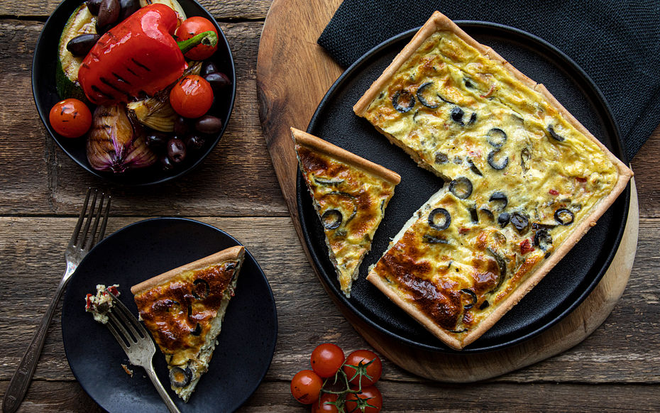 """Olive & Mediterranean Vegetable Quiches (1 x 7"""""""""""""""""""""""""""""""")"""""""""""""""""""""""""""""""