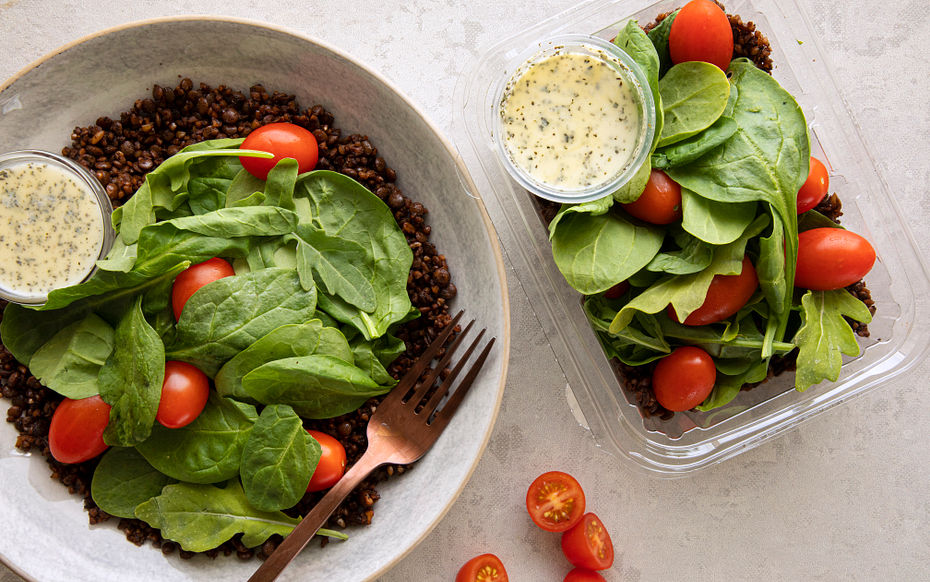 Bulgur and Lentil Salad, Mint & Yogurt Dressing