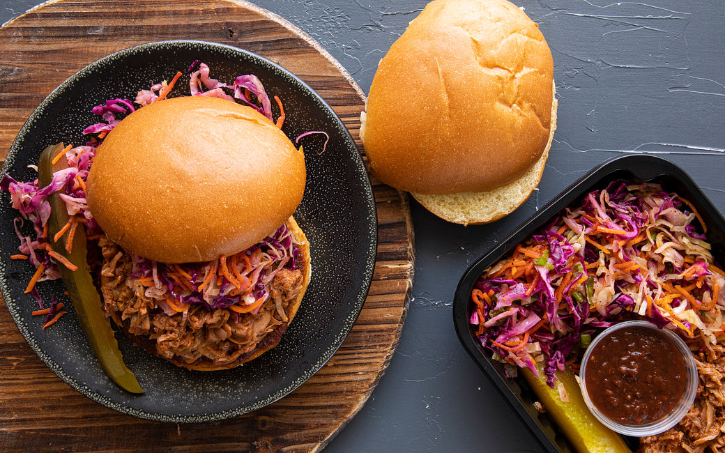 Pulled Jackfruit Slider, Slaw & Pickle