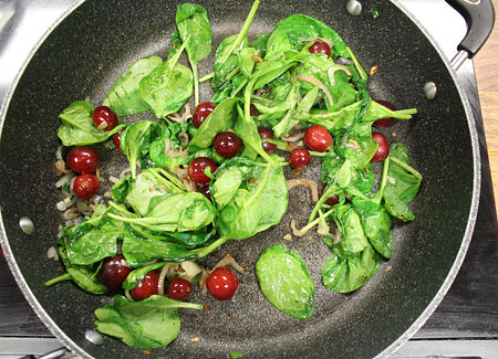 Cook the grapes and veggies