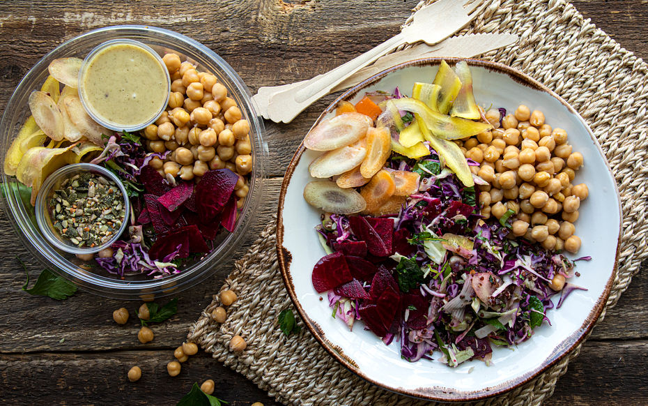 Red Cabbage & Coloured Carrots with Chickpeas Salad