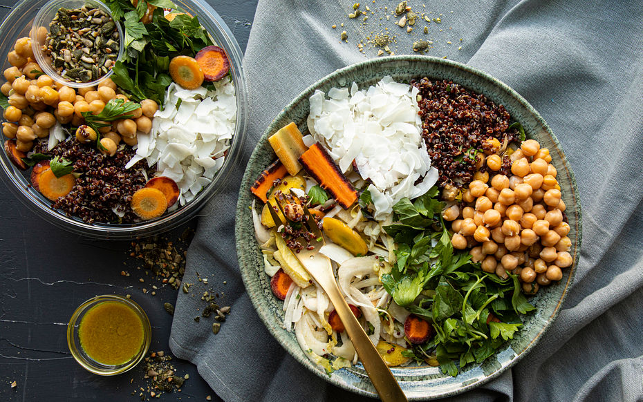 Carrot & Coconut with Chickpeas Salad