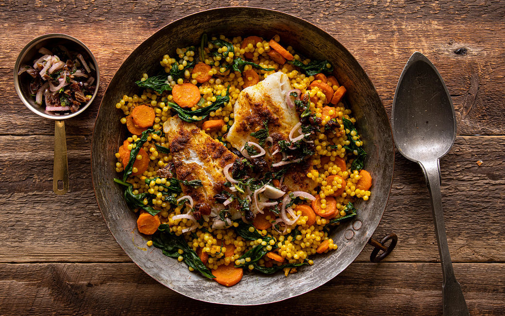 Cod and Spiced Pearl Couscous