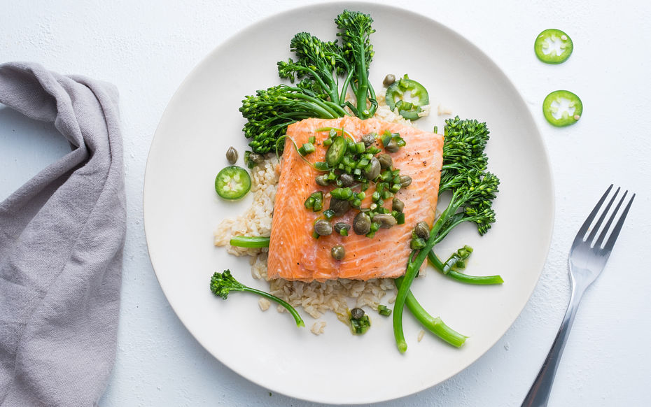 Roast Trout and Broccolinis