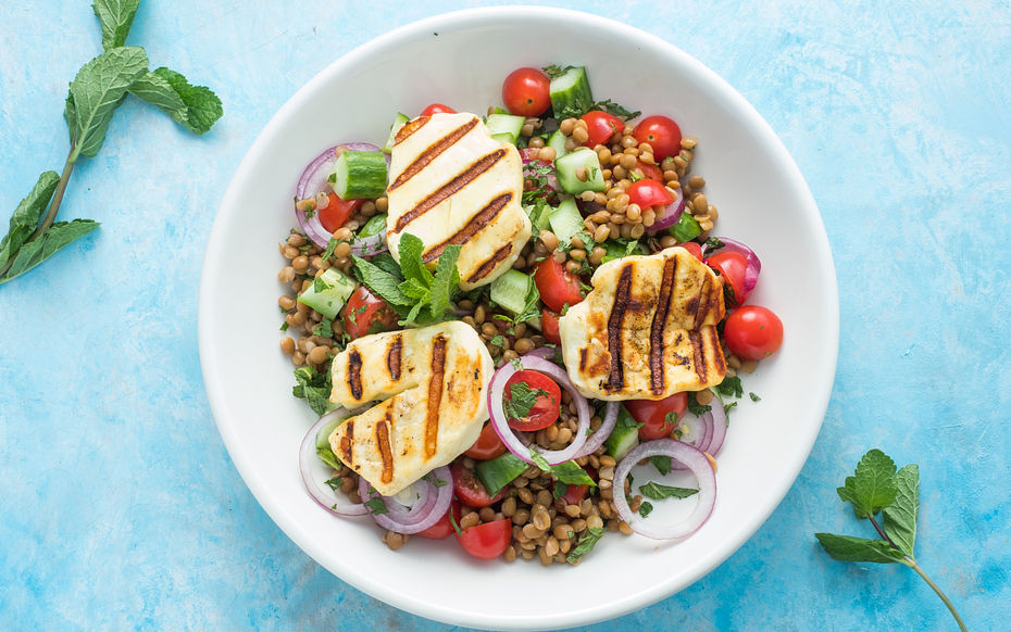 Lentil and Grilled Halloumi Salad