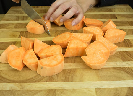 Cut the sweet potatoes in cubes